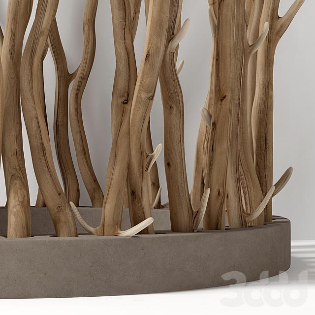 Branch folding screen Ring decor n1 / Ширма из веток кольцевая