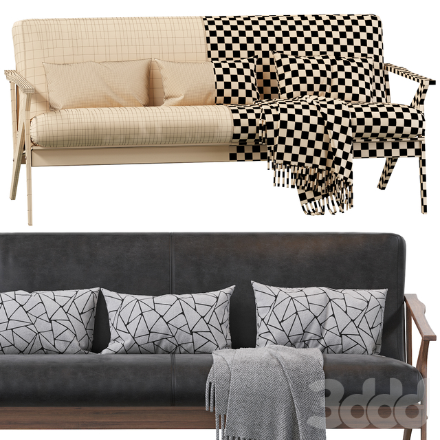 Baxton Studio Bianca Dark Brown Faux Leather 3 Seater Sofa