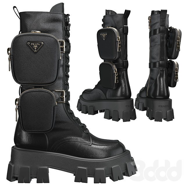 PRADA Brushed rois leather and nylon Monolith boots
