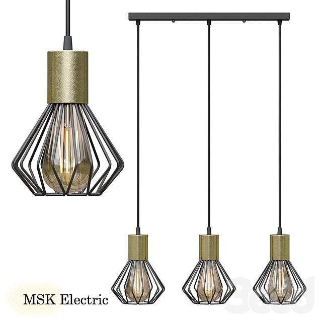 Светильник лофт MSK Electric Diadem подвесной на планке NL 2215-3 BK+BN