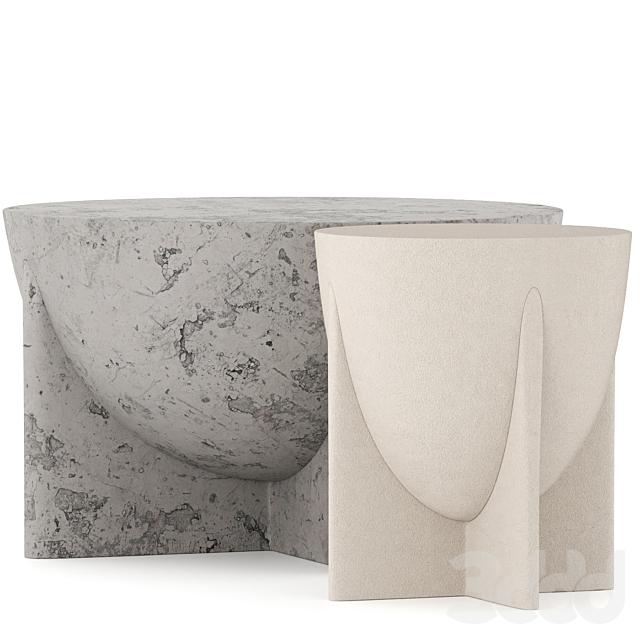 Concrete Table set 001